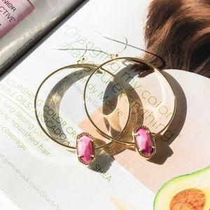 Kendra Scott Elora Gold Pink magenta Hoop Earrings